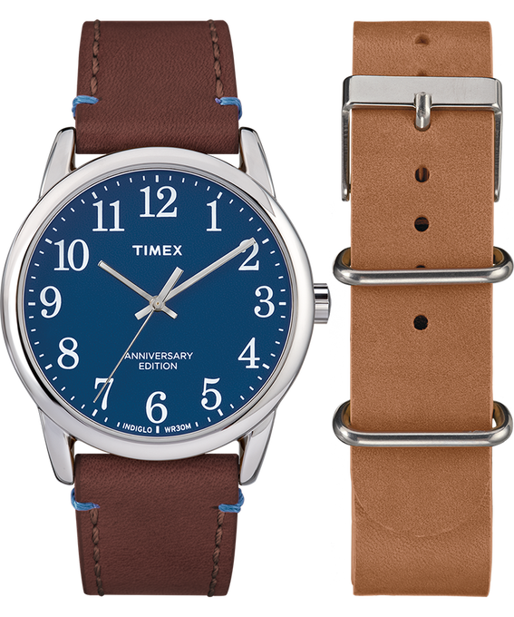Easy Reader 40th Anniversary Special Edition Brown Strap/Blue Dial Gift Set  large
