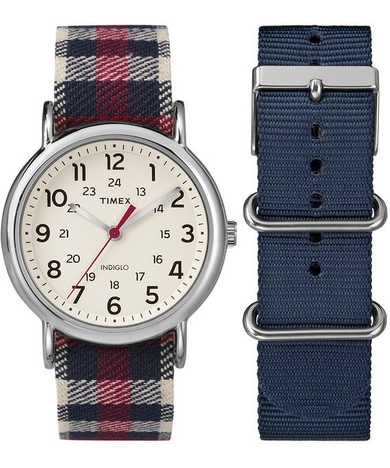 Weekender 38mm Blue Plaid Strap/Cream Dial Gift Set  large