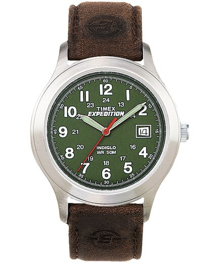 8c6e59c0d Expedition Metal Field 39mm Leather Strap Watch Silver-Tone/Brown/Green  large