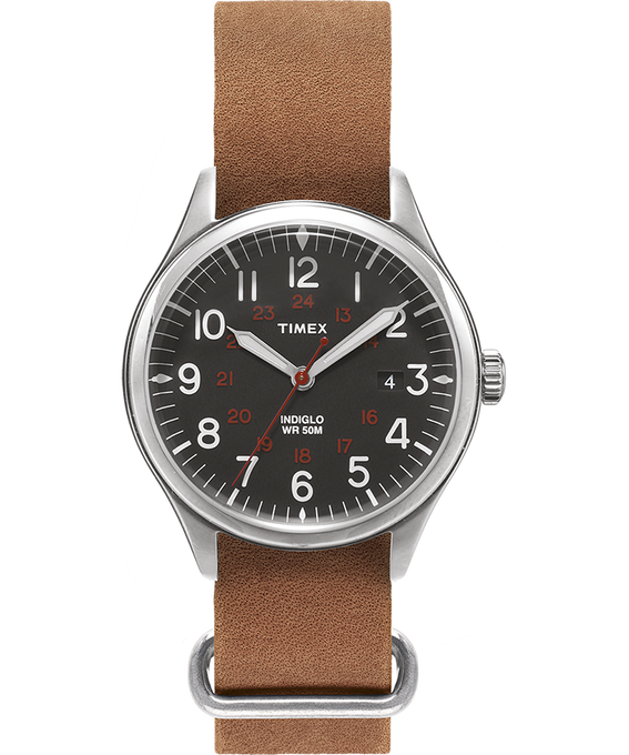 Waterbury United 38mm Stonewashed Leather Strap Watch  large