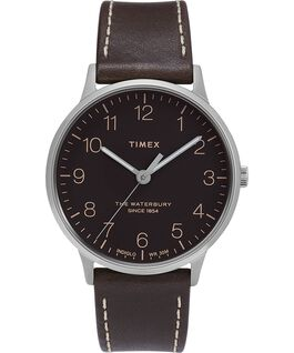 Waterbury 40mm Classic Leather Strap Watch Stainless-Steel/Brown/Black large