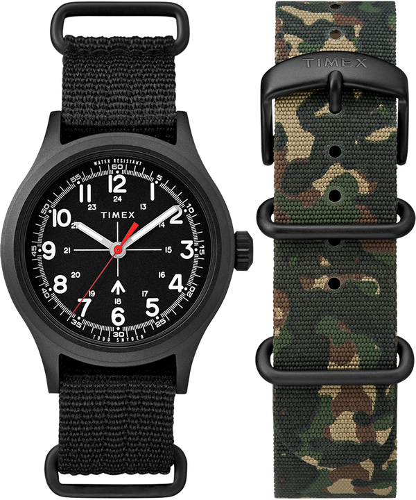 Timex x Todd Snyder Military Inspired 40mm Fabric Strap Watch with Extra Strap  large