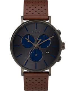 Fairfield Supernova 41mm Leather Strap Watch Black/Brown/Grey large