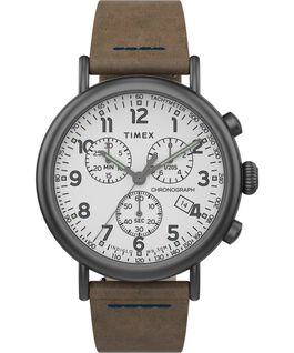 Standard Chronograph 41mm Leather Strap Watch Gunmetal/Brown/White large