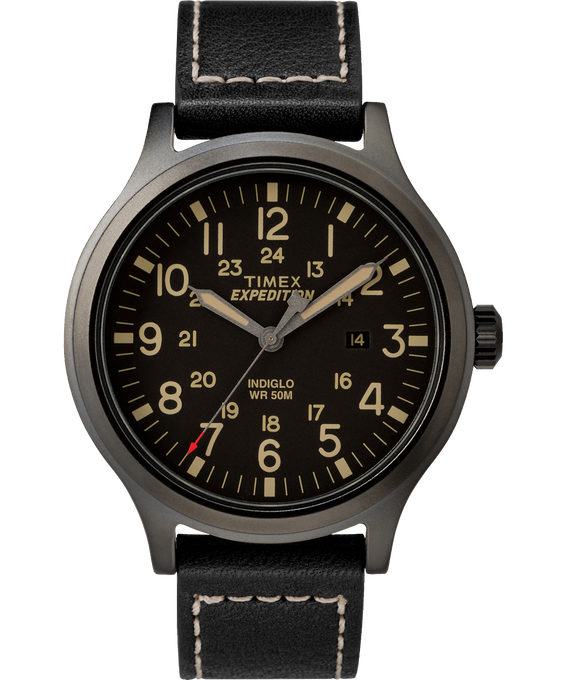 Expedition Scout 43mm Leather Watch Black large
