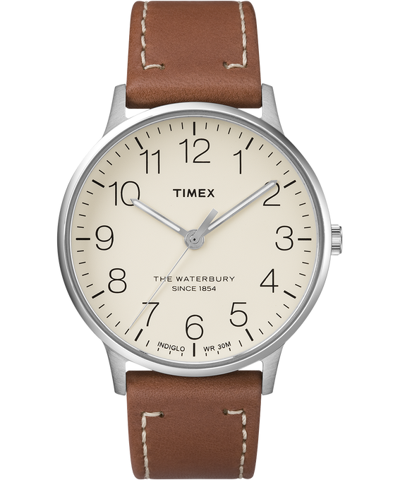 Waterbury 40mm Classic Leather Strap Watch Stainless-Steel/Brown/Cream (large)