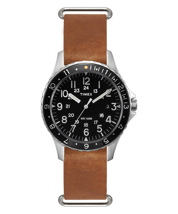 Navi Ocean 38mm Stonewashed Leather Strap Watch  large
