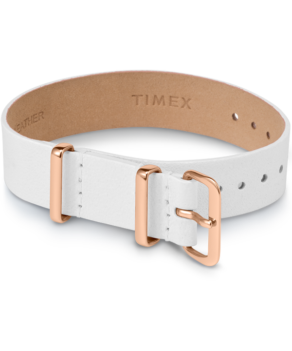 16mm Leather Single Layer Slip Thru Strap with Rose Gold Tone  large