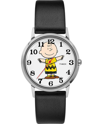 13ab306b4 Timex x Peanuts Exclusively for Todd Snyder 34mm Leather Strap Watch  Stainless-Steel/Black