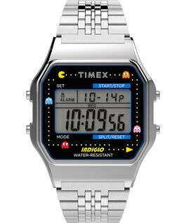 Timex x Pac Man 34mm Stainless Steel Bracelet Watch Silver-Tone large
