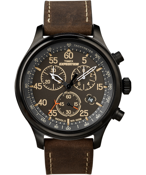 Expedition Field Chronograph 43mm Leather Watch Black/Brown (large)