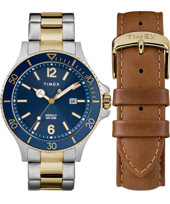 Harborside 43mm Bracelet Watch Gift Set With Extra Strap Two-Tone/Blue large