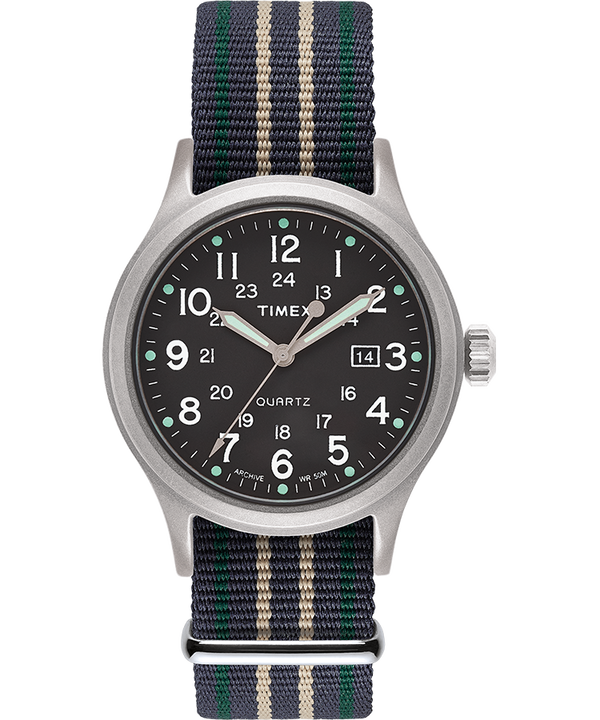 Allied 40mm Fabric Strap Watch Silver-Tone/Green large