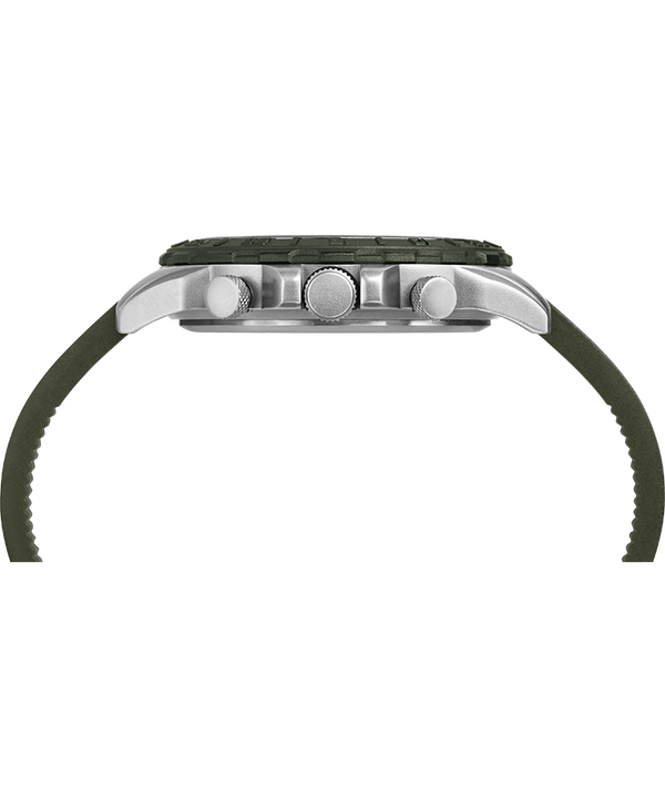 Expedition Pioneer Combo 41mm Quick-Release Silicone Strap Watch Silver-Tone/Green/Black large