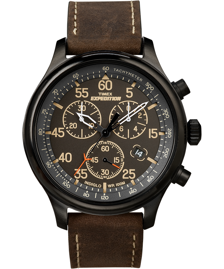 expedition field chronograph 43mm leather watch timex rh timex com Timex Expedition Chronograph Watch timex expedition user manual pdf