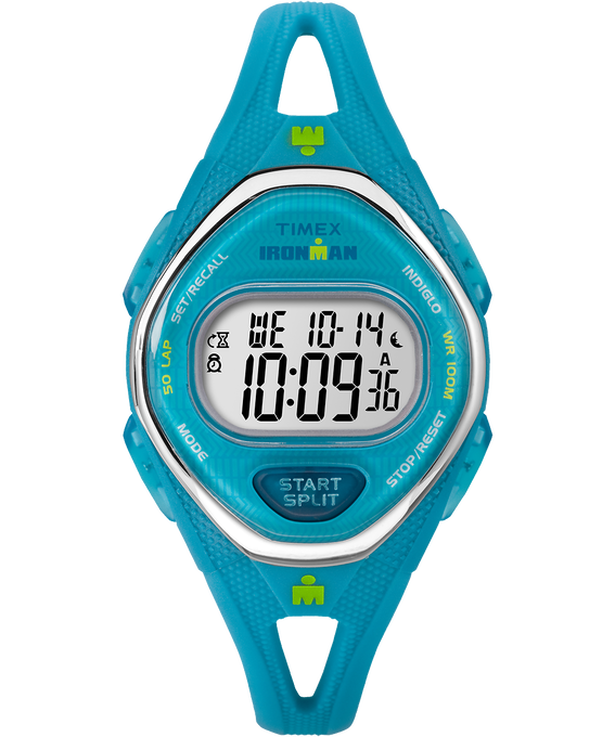 IRONMAN Sleek 50 Mid-Size 34mm Silicone Strap Watch Blue/Stainless-Steel (large)