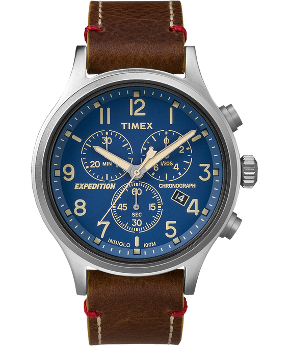 Expedition Scout Chrono 42mm Leather Watch Silver-Tone/Brown/Blue large