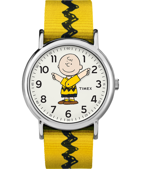 Charlie Brown 38mm Nylon Strap Watch  Silver-Tone/Yellow/White (large)