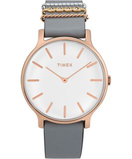 Transcend 38mm Leather Accessory Strap Watch Rose-Gold-Tone/Gray/White large