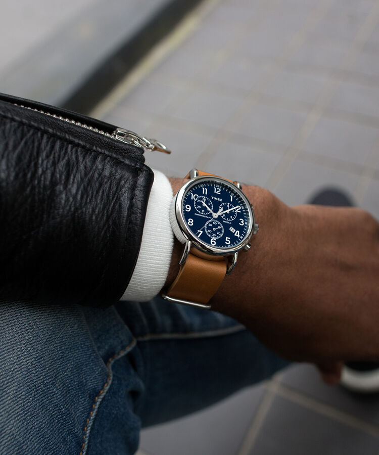 a5b188377 Weekender Chronograph 40mm Leather Strap Watch Silver-Tone/Tan/Blue large