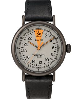 25th Hour 40mm Leather Strap Watch Gunmetal/Black/Gray large