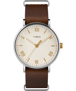 Southview 41mm Leather Watch Chrome/Brown/Cream/Gold-Tone large