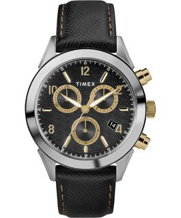 Torrington Mens Chronograph 40mm Leather Strap Watch Stainless-Steel/Black/Gold-Tone large