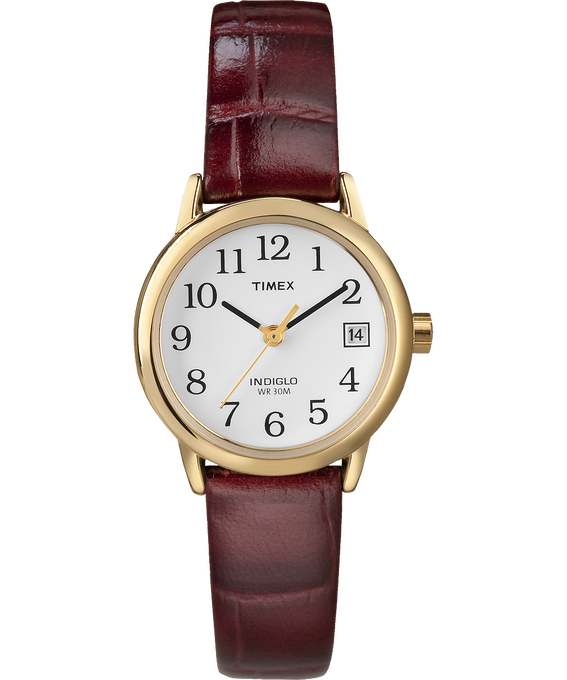 Easy Reader 25mm with Date Leather Watch Gold-Tone/Red/White large