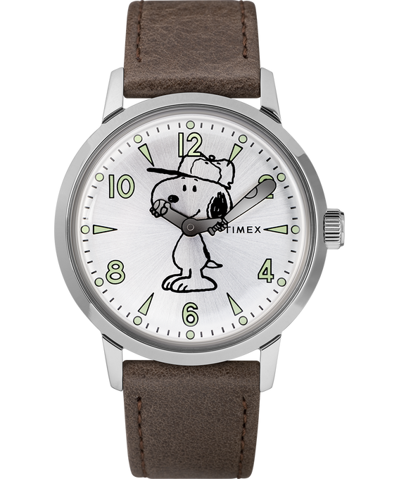 Welton Featuring Snoopy 40mm Leather Strap Watch
