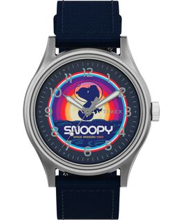 Timex x Space Snoopy MK1 Steel 40mm Fabric Strap Watch Silver-Tone/Blue large