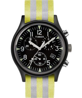 MK1 Aluminum Chrono 40mm Reflective Nylon Strap Watch Black large