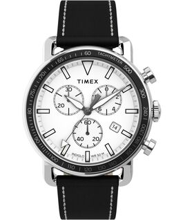 Port Chronograph 42mm Leather Strap Watch Stainless-Steel/Black/White large