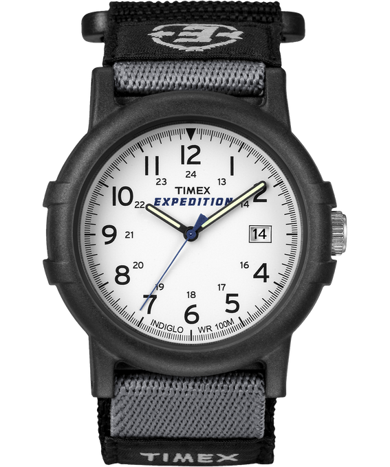 Expedition Camper 38mm Nylon Strap Watch Black/White large