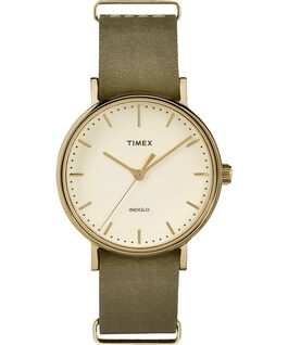 Fairfield 37mm Leather Strap Womens Watch Gold-Tone/Green/Cream large