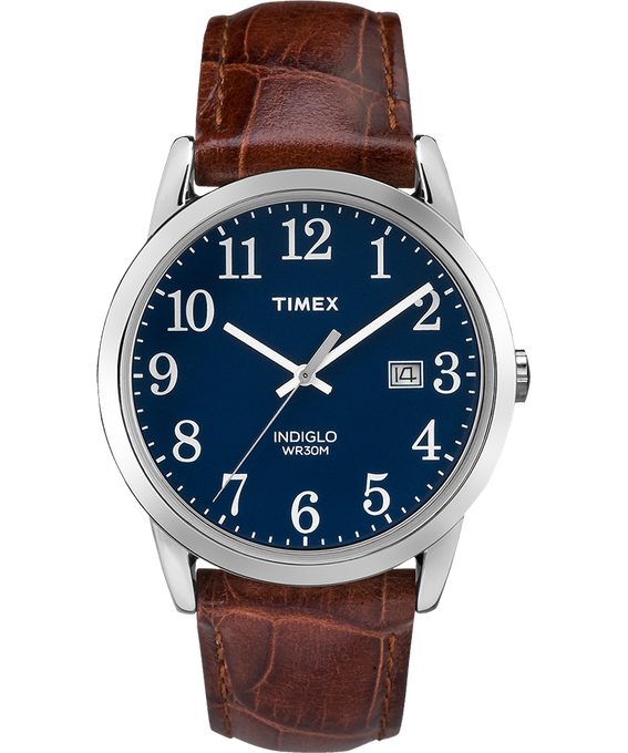 Original Easy Reader 38mm Leather Strap Watch Silver-Tone/Brown/Blue large