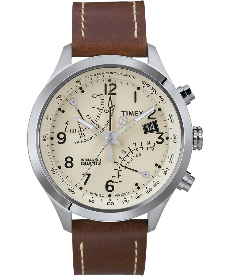 217ef3e0d Intelligent Quartz® Flyback Chronograph 43mm Leather Strap Watch  Stainless-Steel/Brown/Cream
