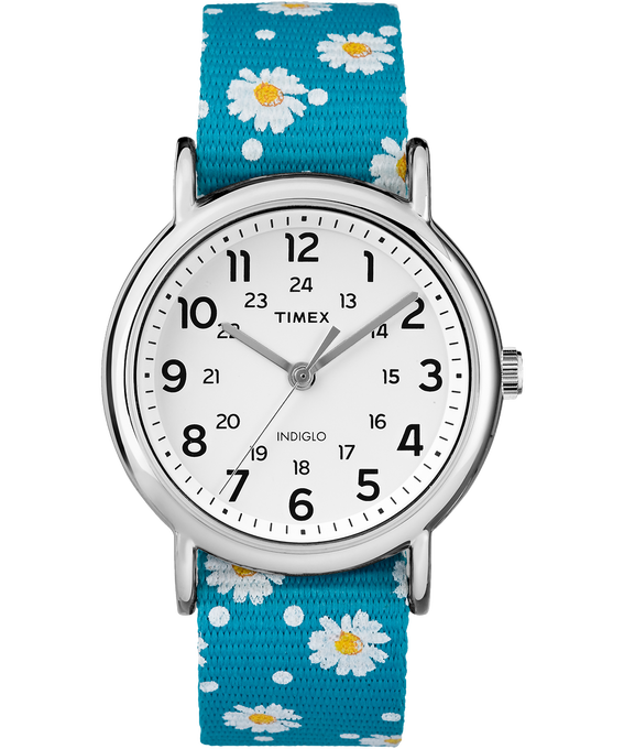 Weekender Patterns 38mm Nylon Strap Watch Chrome/Blue/White (large)