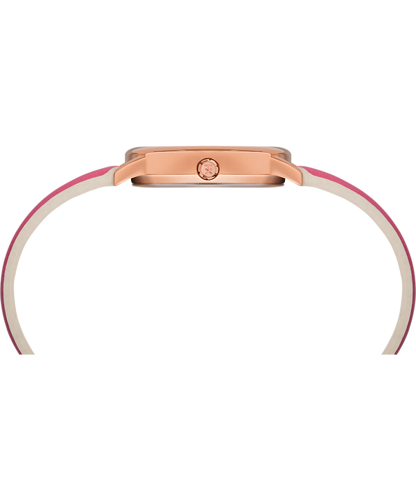 Easy Reader Color Pop 30mm Leather Strap Watch Rose-Gold-Tone/Pink/White large
