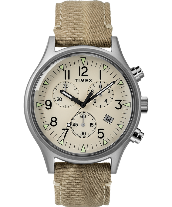 MK1 Chronograph Steel 40mm Fabric Strap Watch Stainless-Steel/Tan/Natural (large)