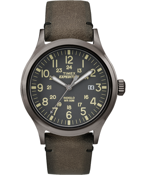 Expedition Scout 40mm Leather Watch Gray/Brown (large)