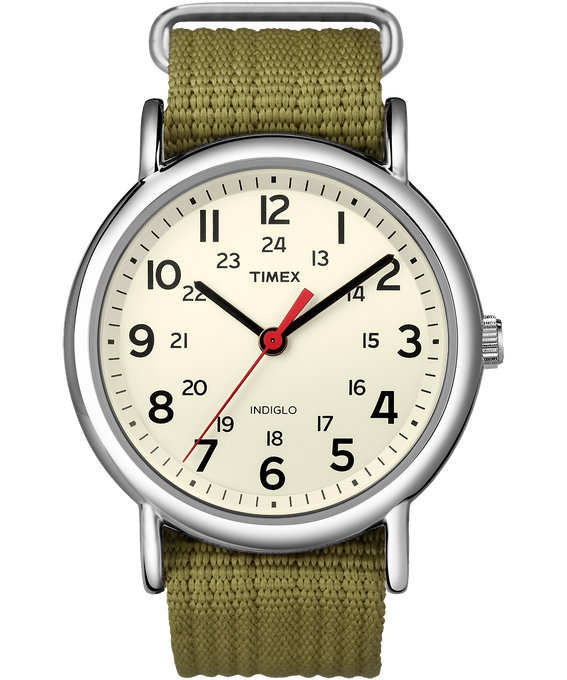 Weekender 38mm Nylon Strap Watch Silver-Tone/Green/Cream (large)