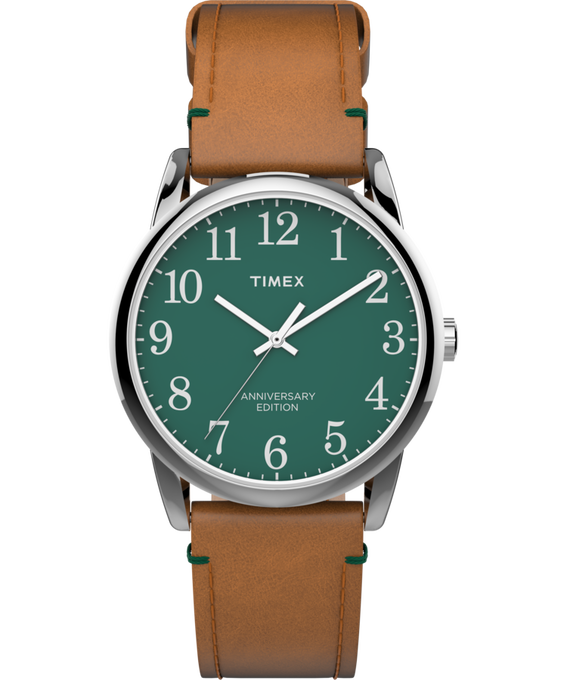 Easy Reader 40th Anniversary Special Edition 38mm Leather Watch Silver-Tone/Tan/Green large