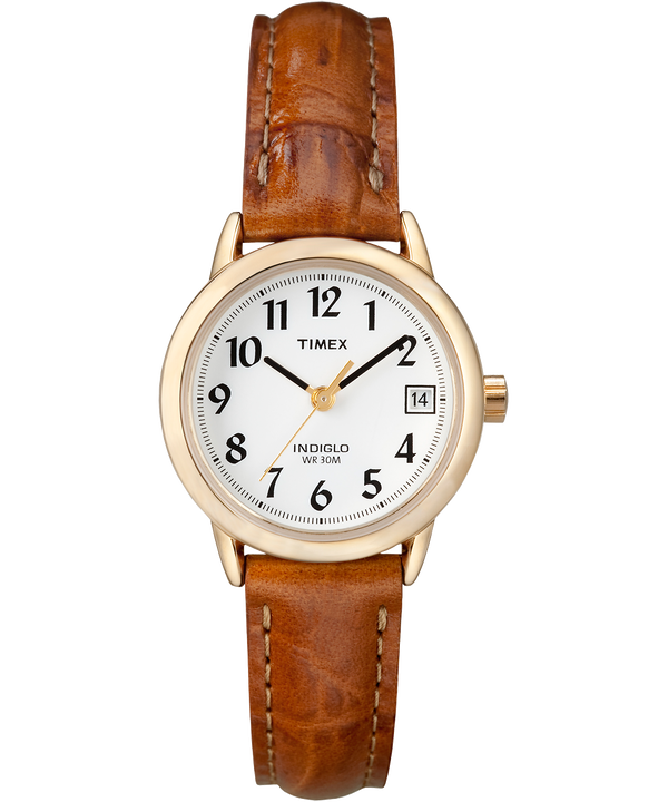 Easy Reader 25mm Leather Strap Watch Gold-Tone/Brown/White large