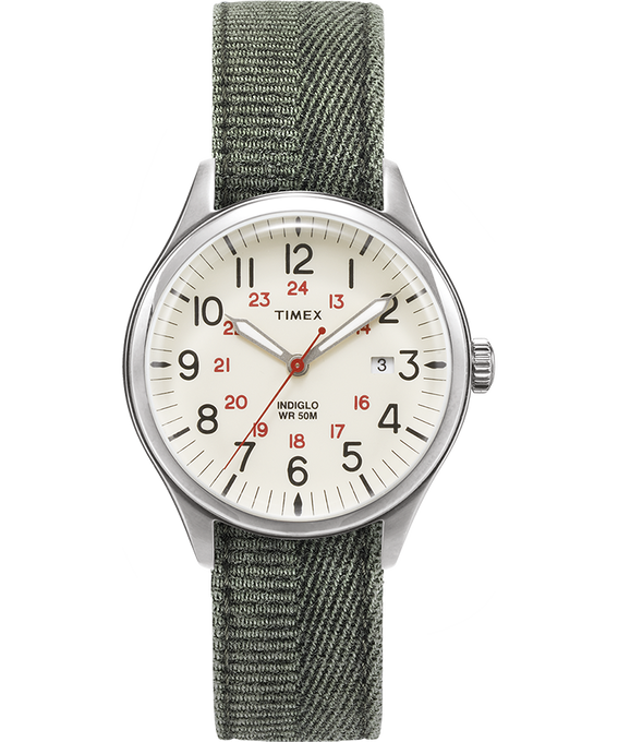 Waterbury United 38mm Stonewashed Fabric Strap Watch Silver-Tone/Green/Natural large