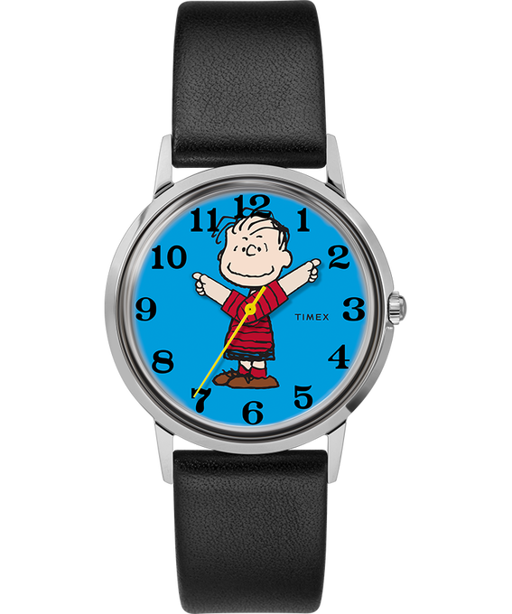 Timex x Peanuts Exclusively for Todd Snyder Featuring Linus 34mm Leather Strap Watch Stainless-Steel/Black/Blue large