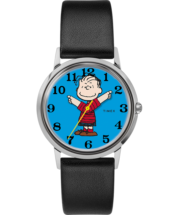Timex x Peanuts Exclusively for Todd Snyder Featuring Linus 34mm Leather Strap Watch  large