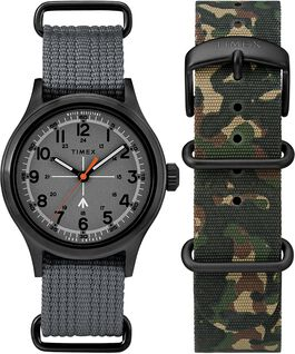 Timex x Todd Snyder Military Inspired 40mm Fabric Strap Watch with Extra Strap Black/Gray large