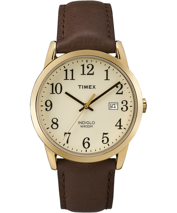 Easy Reader 38mm Leather Strap Watch Gold-Tone/Brown/Cream large