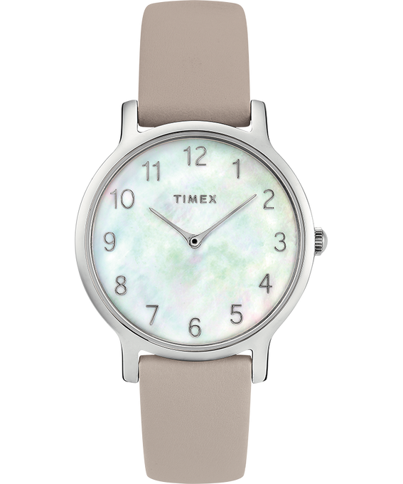 Metropolitan 34mm Leather Watch with Mother of Pearl Dial Silver-Tone/Gray/Mother-of-Pearl large