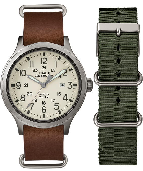 Scout 43mm Brown Strap/Natural Dial Gift Set  large